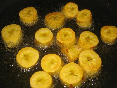 Just flipped green plantains